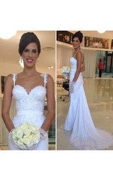 Sexy Mermaid Summer Spaghetti Straps Lace Appiqued Beaded Bridal Gown