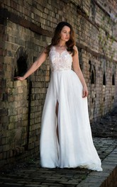 Lace and Chiffon Sleeveless A-Line Dress With Side Slit and V-Neck