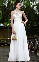 White Elegant Sheath Floor-length Halter Dress