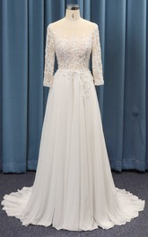 Adorable 3/4 Sleeve A-line Wedding Dress With Lace Top And Chiffon Ruched Skirt And Sash