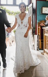 Illusion Tulle Back Cap Sleeves Sexy Mermaid Lace Bridal Gown With Court Train