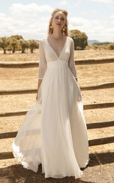Plunging Chiffon 3/4 Sleeve Ethereal Wedding Dress With Lace Top And Deep V-back