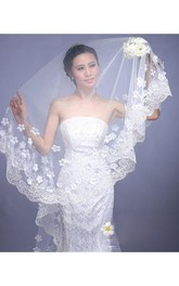 New Style Beautiful Long Wedding Veil with Flowers and Lace Edge