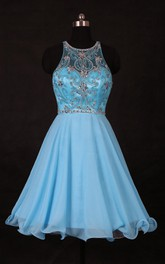 Mini Sleevelss Chiffon Dress With Beading And Keyhole Back