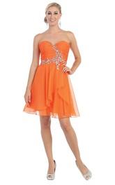 A-Line Short Sweetheart Sleeveless Chiffon Zipper Dress With Beading And Ruching