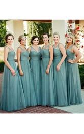 A-line Floor-length V-neck Sleeveless Pleats Tulle Dress