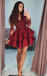 Satin Lace A Line Illusion Long Sleeve with Ruffles and Tiers Homecoming Dress