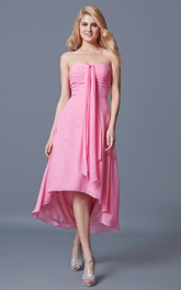 Sweetheart Empire Waist High Low Chiffon Dress With Front Draping