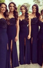 Sweetheart A-line Long Front Split Chiffon Lace Dress