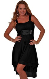 Sleeveless Empire High-low Dress With Beadings