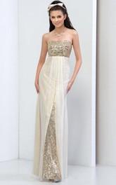 Strapless Beaded Sequins Evening Dress