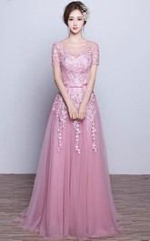 Short Sleeve A-line Long Tulle Dress with Appliques