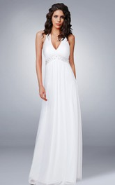 Halter Beaded Chiffon Long Wedding Dress
