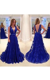 Sleeveless V-neck Long Lace Dress with Deep V-back