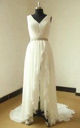 Chiffon Lace Weddig Dress With Beading Sash Ribbon