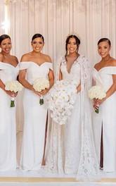 Satin Floor-length Sweep Train Sheath Sleeveless Modern Bridesmaid Dress with Split Front
