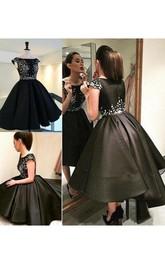 Ball Gown Short Sleeve Satin Bateau Zipper Tea-length High-low Homecoming Dress