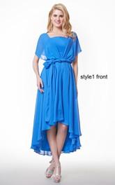 Cape Sleeve A-line High Low Chiffon Dress With Ruffles