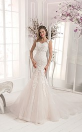 Illusion Back Strap Lace&Tulle Mermaid Dress with Crystal Detailing