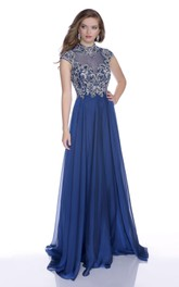 High Neck Cap Sleeve A-Line Chiffon Prom Dress With Sequined Bodice