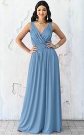 Sexy V-neck A Line Sleeveless Floor-length Chiffon Bridesmaid Dress With Ruching