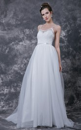Sleeveless V-neck A-line Tulle Gown With Lace Bodice