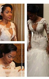 Trumpet V-neck Long Sleeves Lace Court Train Lace Tulle Wedding Dresses