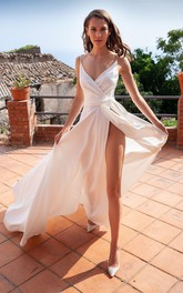 Satin Floor-length Brush Train A Line Sleeveless Simple Evening Dress with Ruffles