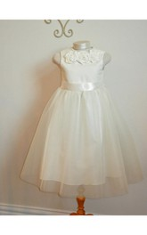 Floral High Neck Sleeveless Pleated Tulle Ball Gown With Sash