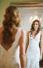 Sleeveless Deep V Neck Backless Mermaid Lace Summer Wedding Bridal Gown