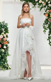 Sleeveless High-low Romantic Lace Bridal Gown With Sash And Bow