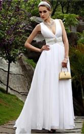 Elegant White A-line Floor-length V-neck Dress
