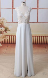Front Split Lace Chiffon A-line Wedding Dress In Cap Sleeves And Scoop Neck With Illusion Button Back