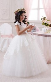 Flower Girl Princess Scalloped Neck Tulle Ball Gown With Lace
