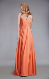 Floor Length Sweetheart Chiffon Dress