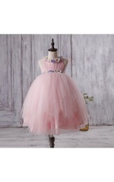 High Neck Sleeveless Empire Layered Tulle Ball Gown With Flowers