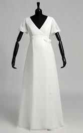 A Line Court Puff Balloon Short Sleeve Maternity Wedding Dress