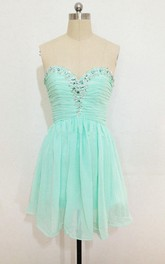 Short Ruched Chiffon Dress With Sequins And Lace-up Back