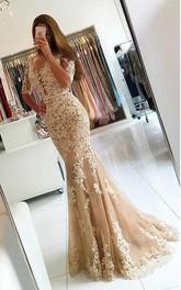 Mermaid Floor-length Half Sleeve Lace Appliques Dress