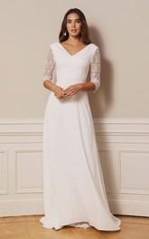 Simple A Line V-neck Chiffon Lace Floor-length Deep-V Back Wedding Dress