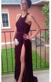 Gorgeous Burgundy Sleeveless Prom Dresses 2018 Long Chiffon