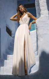 Front Split Sleeveless Sexy Plunging Wedding Dress With Cute Bows And Sash Details