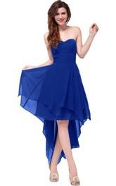 Sweetheart Ruched Sash High-low Layered Chiffon Dress