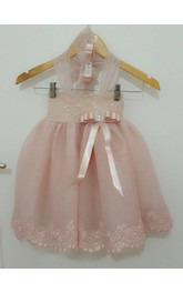 Halter Pleated Organza Ball Gown With Applique and Bow