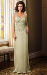 3-4 Sleeved Long Mother Of The Bride Dress With Appliques And V-Back
