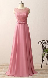 A-line Floor-length Chiffon Lace Satin Dress