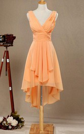 V Neck A-line Pleated Chiffon High Low Dress With Side Draping