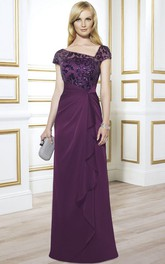 Cap Sleeve Sequined Chiffon Formal Dress With Draping And Illusion Back