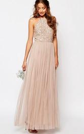 Ankle-Length A-Line High Neck Beaded Sleeveless Tulle Bridesmaid Dress