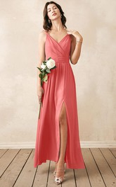 Sexy V-neck A Line Sleeveless Ankle-length Chiffon Bridesmaid Dress With Ruching